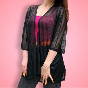 Lularoe Black Lindsay sheer Cardigan Kimono